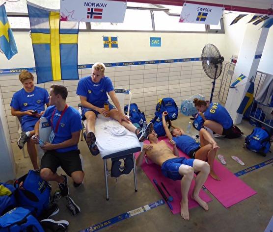 Svenska massagehörnan i EJM-arenan i Netanya.