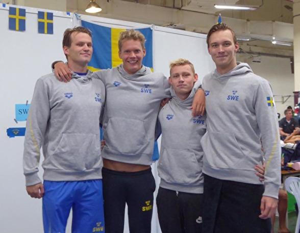 Det svenska herrlaget på 4x200m fritt herrar - Holmström, Paulsson, Björk och Eliasson