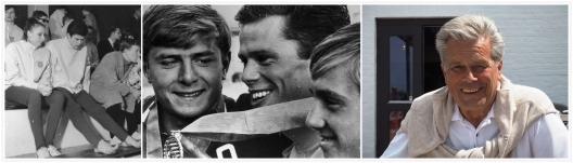 Frv. Tord Andersson på landskamp tillsammans med simmaren Ann-Charlotte Lilja, på en prispall bla. med Sovjets Vasin och till höger en bild på Tord Andersson från sommaren 2017.