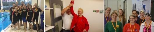 Helsingborgs DM-trupp, Elisabeth Ketelsen grattas för Världsrek och prisutdelning för dambröstsim. (foto HS-sim och SK Poseidon
