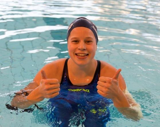 Eva Kummen etter juniorrekord.