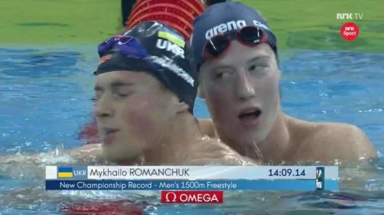 Henrik Christiansen grautlerer vinner Mykhailo Romantsjuk. Skjermdump NRK.