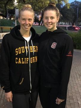 Louise och Sophie Hansson efter dagens försök på NCAA - foto Lars Olof Hansson