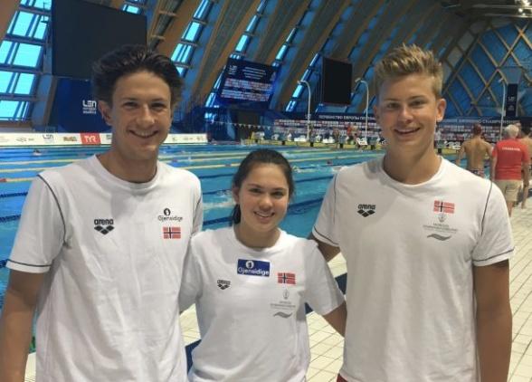 Norges junior-EM-svømmere. FOTO: Norges Svømmeforbund