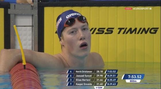 Henrik Christiansen etter 800 meter fri. Skjermdump Eurosport.