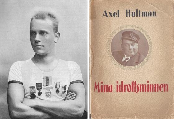 """Tv: Axel Hultman poserar efter sina första SM-guld i simning 1891.    1919 kom hans bok """"Idrottsminnen"""" uti 100 exemplar"""
