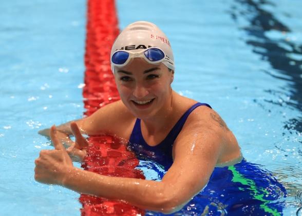 Elena Krawsow satte tre nye verdensrekorder i klasse SB12 under Nordsjøstevnet. Bilde med tillatelse av North Sea Swim Meet
