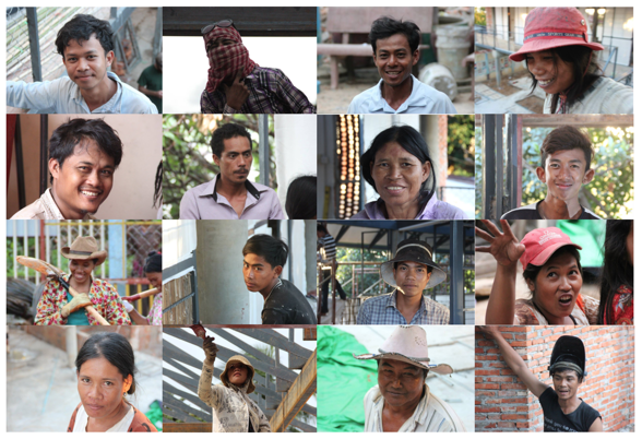 Some of the workers in Cambodia - Photos by Kenneth Lockhard