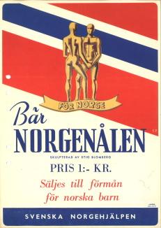 Norgenålen symboliseras av två manspersoner skuldra vid skuldra. Den bars som ett synbart uttryck för den starka sympati och medkänsla, som svenskar i skilda läger kände för det norska broderfolket. Nålen är gjord av skulptören Stig Blomberg.
