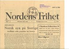 Nordens frihet var en tidskrift utgiven av Samfundet Nordens Frihet. Samfundets syfte var att verka för nordisk enighet under andra världskriget. Den upplöstes 1946. Tidningen på bilden är från mars 1943 med rubriken Norsk syn på Sverige – förhållandet mellan grannfolken åter försämrat. Klicka på bilden för att göra den större.