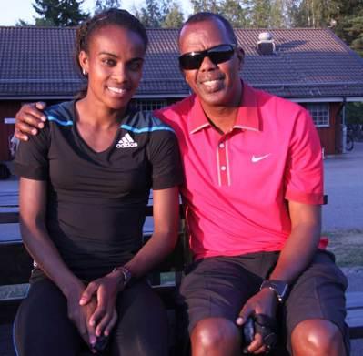 Genzebe Dibaba och coach Jama Aiden gästade med världslöpare