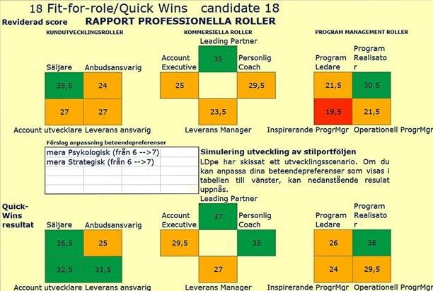 Exempel personlig Quick-Wins rapport Professionella Roller