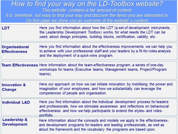 How to find your way on the LD-Toolbox website
