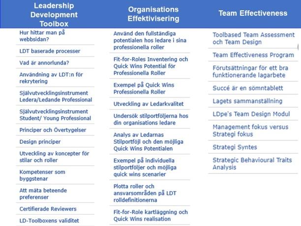 Innehåll LD-Toolbox webbsidan - strömmarna 1-3