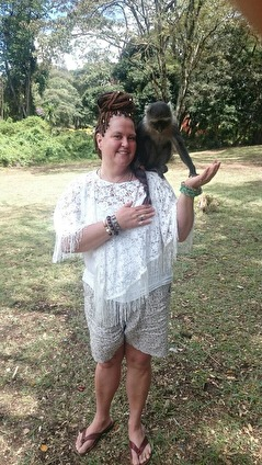 Ann& the blue Monkey in Kenya