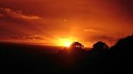 solnedgång i Glastonburt Tor