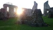 Glastonbury abbey sunset