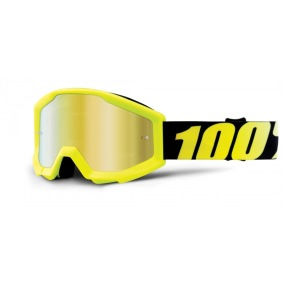 100%, STRATA YOUTH NEON YELLOW - MIRROR GOLD LENS - 100%, STRATA YOUTH NEON YELLOW - MIRROR GOLD LENS