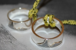 "Weddingrings for Karin and Tore with Norways national mountain ""Stetind"" Solid 925 Sterling Silver"