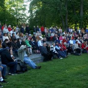 En stor publik lyssnade i parken.