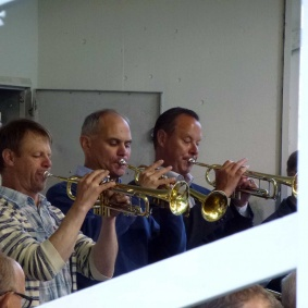 Trumpetarna Mats Nilsson , Nils-Inge Andersson , Tommy Persson och (Ej med på bilden) Jan-Ove Pettersson
