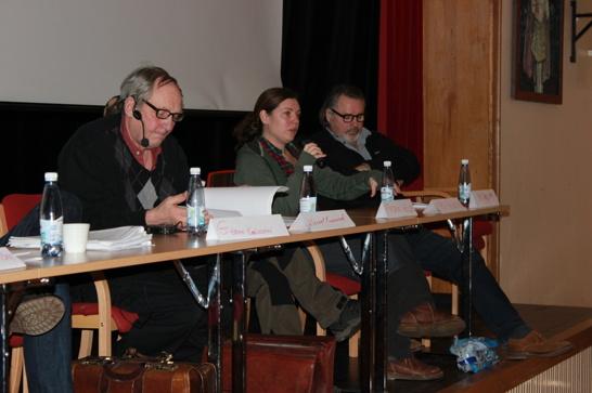 Wincent Kvarnrud, moderator, Maria Falkevik, länsstyrelsen Värmland, Jan Bergstam, Rovdjursföreningen