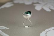 Ring JAPAN 975 kr, grön bladmetall på silver