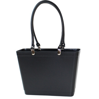 Sweden Bag - Small, with long leather handles - Black / Black