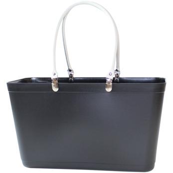 Sweden Bag - Stor - Väska Svart med vita läderhandtag