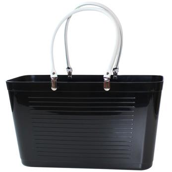 1950 Original - Perstorp Design - Väska med vita läderhandtag - Väska Svart med vita läderhandtag