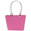 Sweden Bag - Liten - Rosa med vita läderhandtag