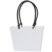 Sweden Bag - Liten - Vit med svarta läderhandtag