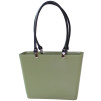 Sweden Bag - Small, with long leather handles - Nature Green / Black