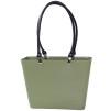 Sweden Bag - Liten - Naturgrön med svarta läderhandtag BIOPLAST