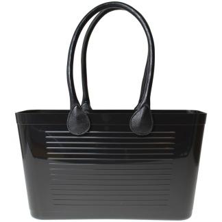 Stor väska med läderhandtag - Svart 1950 Original med långa handtag