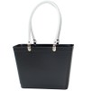 Sweden Bag - Small, with long leather handles - Black / White