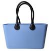 Stor väska med läderhandtag - Sky Blue Bioplast Sweden Bag Stor med långa handtag
