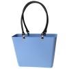 Sweden Bag - Liten - Sky Blue med svarta läderhandtag BIOPLAST