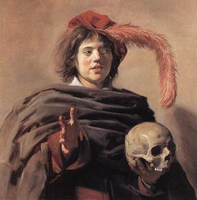 """""""Young Man with a Skull"""" på National Gallery. Målning av Frans Hals (ca 1580 - 1666) (förstora med klick)"""