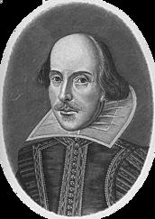 Shakespeare Gravyr av Droueshout. Förstora bilden med ett klick