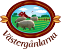 Västergårdarna gris, gås, ko & fårfarm utanför Halmstad mitt i Halland