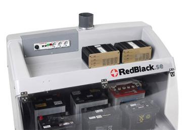 Rymligt batteriskåp med transparent lucka som förhindrar laddningsgaser i lokalen.