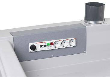 Der Schrank hat einen Verteilerkasten mit drei Kanäle, alle mit Mikroschalter.