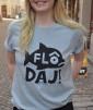 T-shirt: Flô Daj, Blå/gråmelerad - Size XXXL