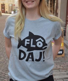 T-shirt: Flô Daj, Blå/gråmelerad - Size XS