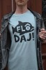 T-shirt: Flô Daj, Blå/gråmelerad - Size XXL