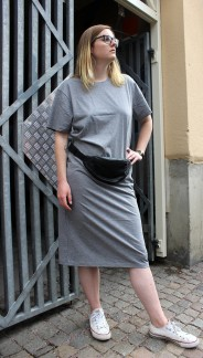 Organic T-shirt Dress Grey melange, Somenid - Size S