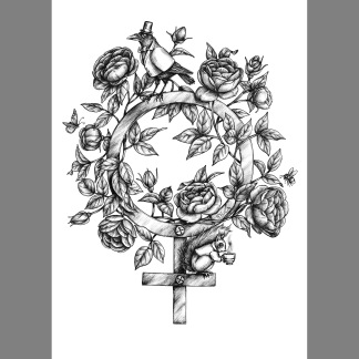 Print: Flowervenus - Kvinnosymbol A4 Svartvit