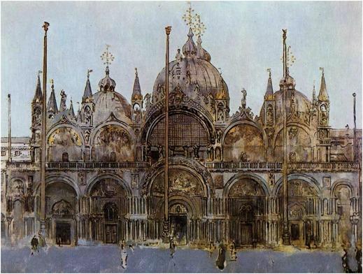 Markuskyrkan i Venedig. Målning av Walter Sickert