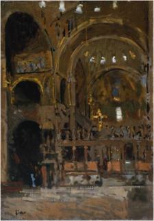 Walter Sickerts målning av Markuskyrkans interiör.